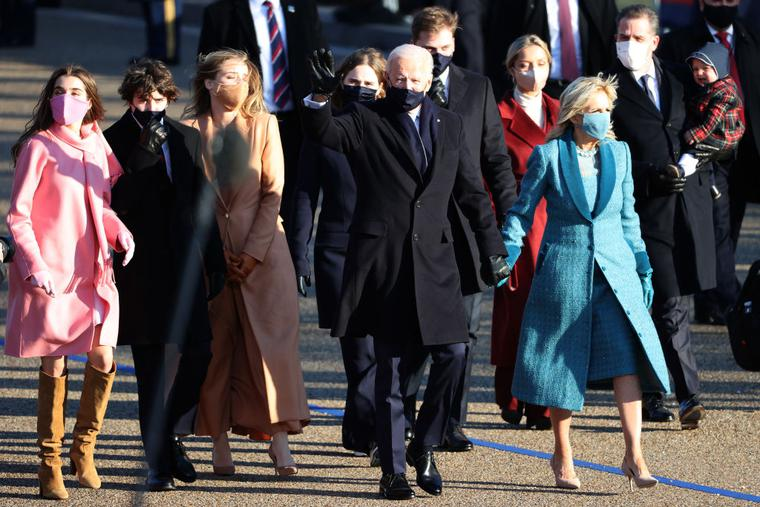 U.S. President Joe Biden and first lady Jill Biden and their family walk the abbreviated parade route after Biden's inauguration on Jan. 20 in Washington. Biden became the 46th president of the United States earlier today during the ceremony at the U.S. Capitol.