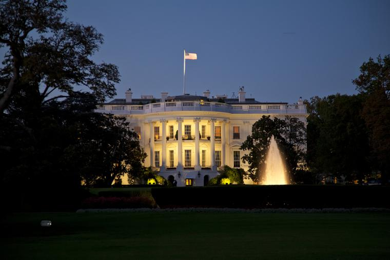 The White House in Washington, D.C. at night.