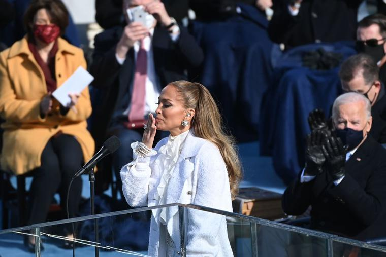 Jennifer Lopez blows a kiss after performing in front of Joe Biden (R) at the 59th Presidential Inaguruation on January 20, 2021, at the US Capitol in Washington, DC.