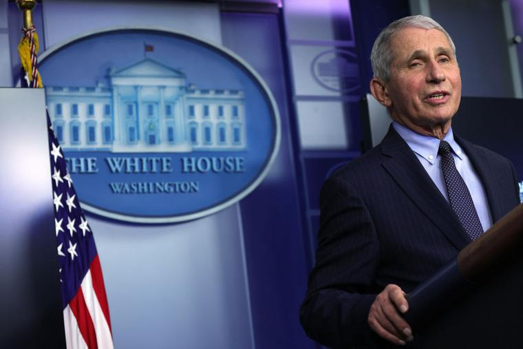 Dr. Anthony Fauci, director of the National Institute of Allergy and Infectious Diseases, speaks during a White House press briefing, conducted by White House Press Secretary Jen Psaki, at the White House Jan. 21.