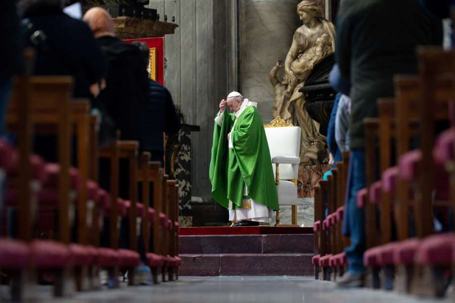 Pope Francis celebrates Mass at the Altar of the Chair in St. Peter's Basilica, Nov. 15, 2020.