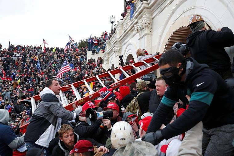 A mob storms the U.S. Capitol on Jan. 6.
