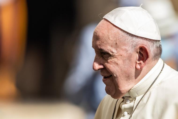 Pope Francis gave the Wednesday general audience inside the San Damaso Courtyard of the Vatican Apostolic Palace, Sept. 9, 2020.
