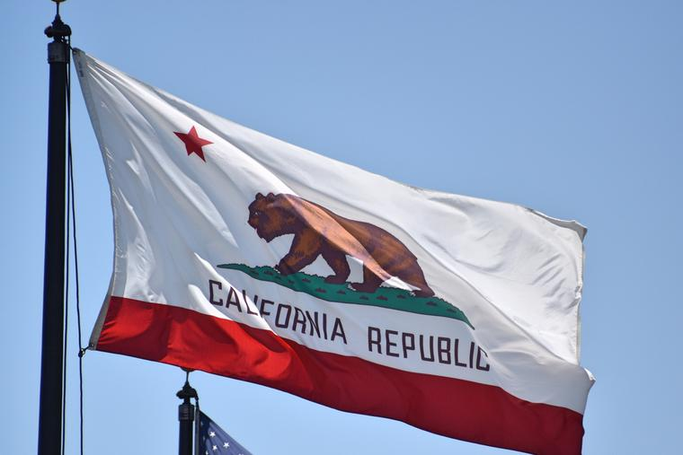 California flag flying in the wind.