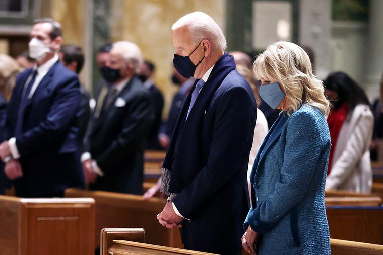 President Joe Biden and Dr. Jill Biden attend Mass at St. Matthew's Cathedral in Washington, D.C., before the presidential inauguration on Jan. 20.