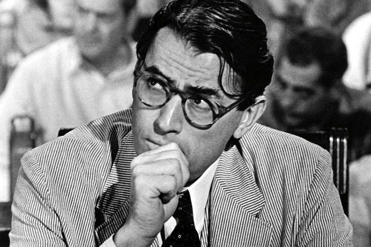 Gregory Peck portrays Atticus Finch in the 1962 film version of To Kill a Mockingbird