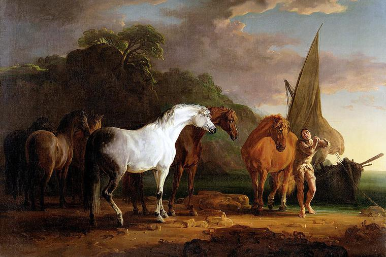 """Sawrey Gilpin, """"Gulliver Taking His Final Leave of the Land of the Houyhnhnms,"""" 1769"""