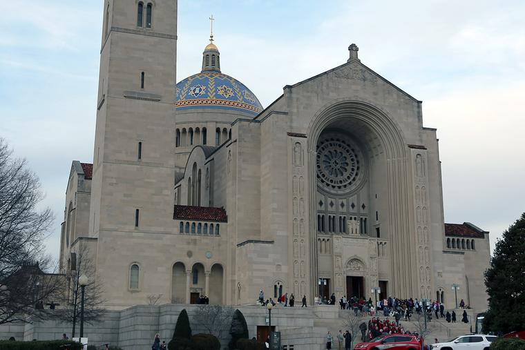 People gather at the Basilica of the National Shrine of the Immaculate Conception before the Mass for Life on Jan. 23, 2020.