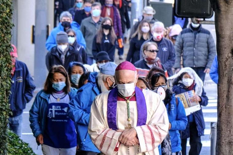 San Francisco Archbishop Salvatore J. Cordileone leads more than 120 pro-life pilgrims for the first monthly Mass for life and rosary walk to pray in front of a soon-to-open flagship Planned Parenthood facility on Jan. 9, 2021.