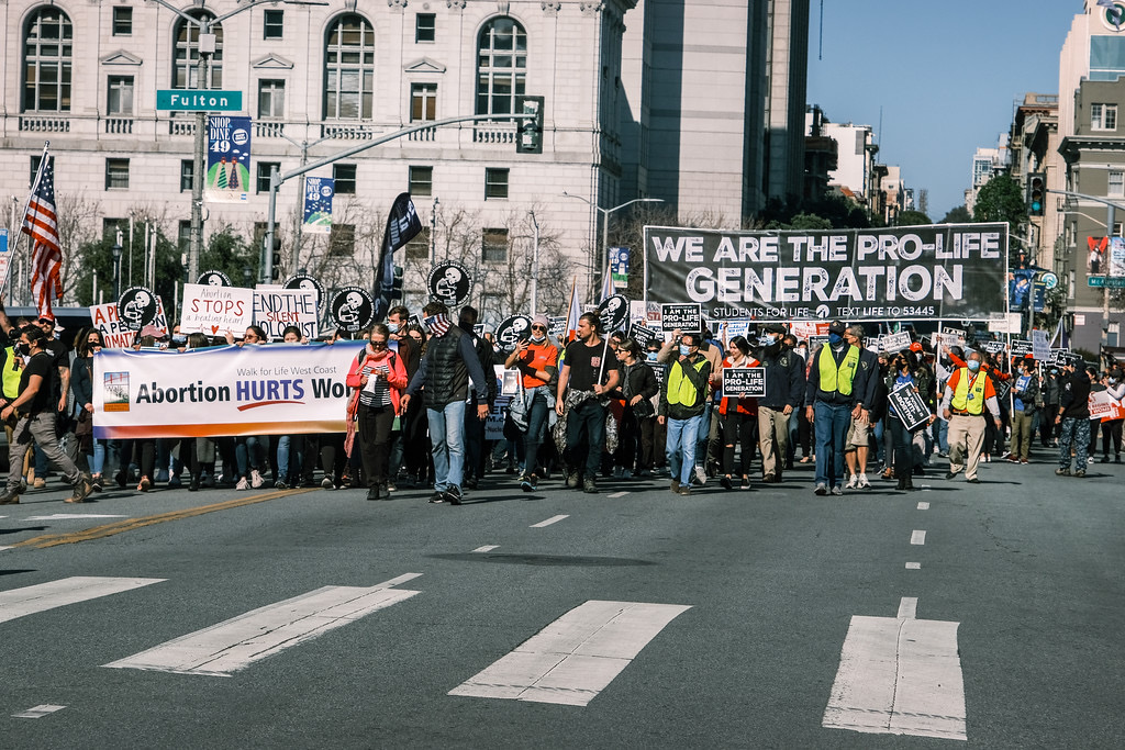 Pro-life marchers take part in the West Coast Walk for Life on January 22, 2021 in San Francisco.