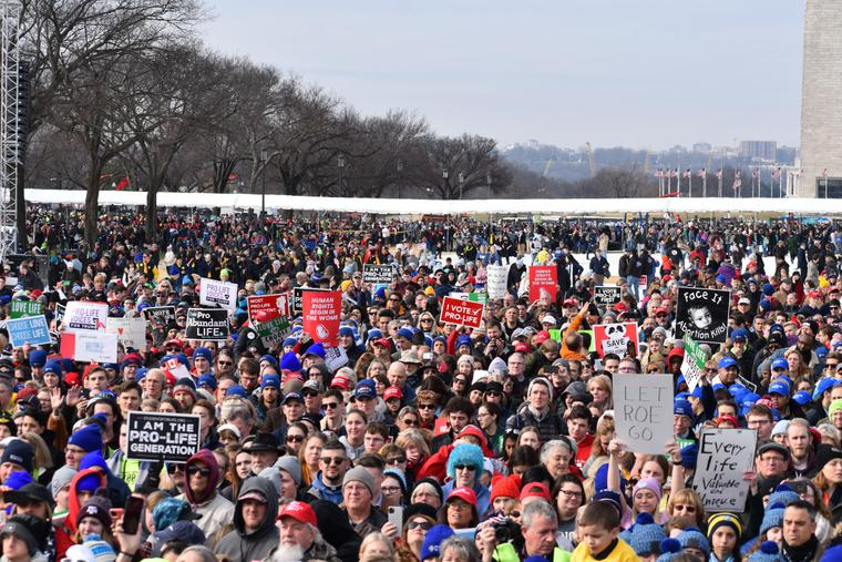 Thousands stand on the National Mall during the 2020 March for Life in Washington, D.C.