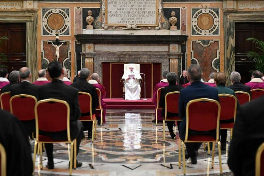 Pope Francis addresses members of the Roman Rota in the Vatican's Clementine Hall Jan. 29, 2021.
