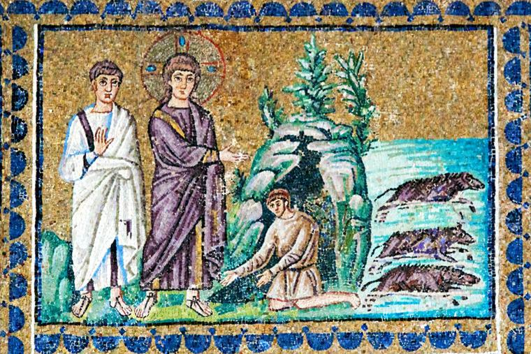 Sixth-century mosaic of the exorcism of the Gerasene demoniac from the Basilica of Sant'Apollinare Nuovo in Ravenna, Italy.