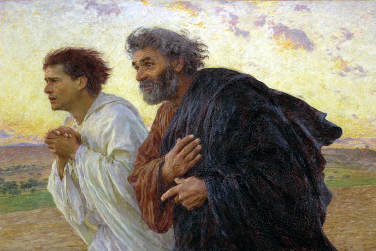 "Eugène Burnand, ""Peter and John Run to the Empty Tomb,"" 1898"