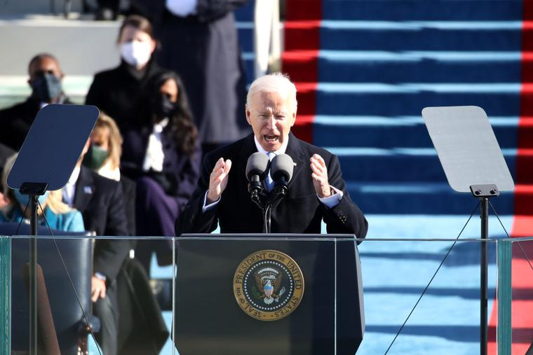 President Joe Biden delivers his inaugural address on the West Front of the U.S. Capitol on January 20, 2021 in Washington, DC. During today's inauguration ceremony Joe Biden becomes the 46th president of the United States.