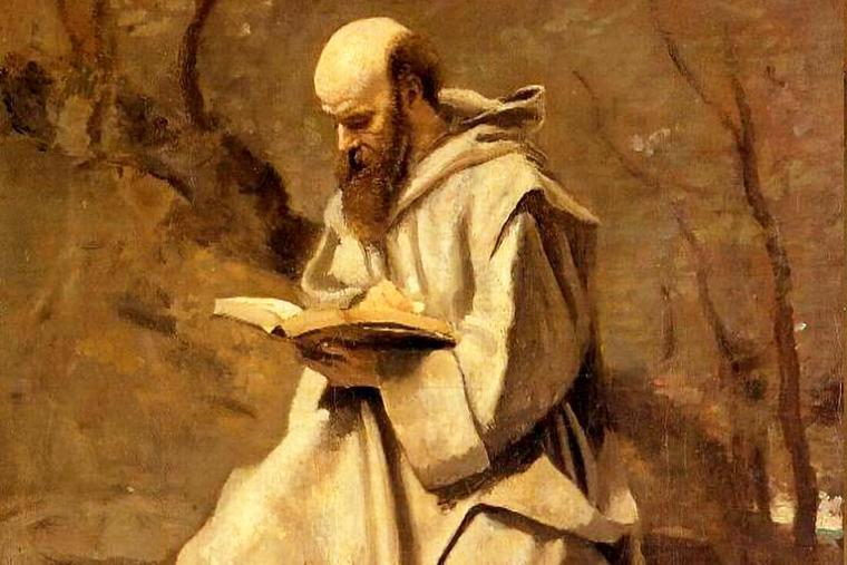 """Jean-Baptiste Camille Corot, """"Monk in White, Seated, Reading,"""" c. 1850-1855"""