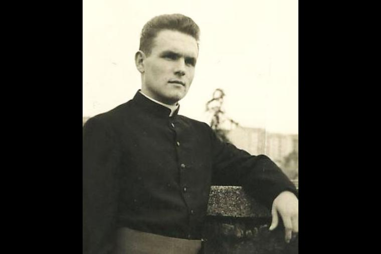 Bishop Peter Esterka as a seminarian or young priest.