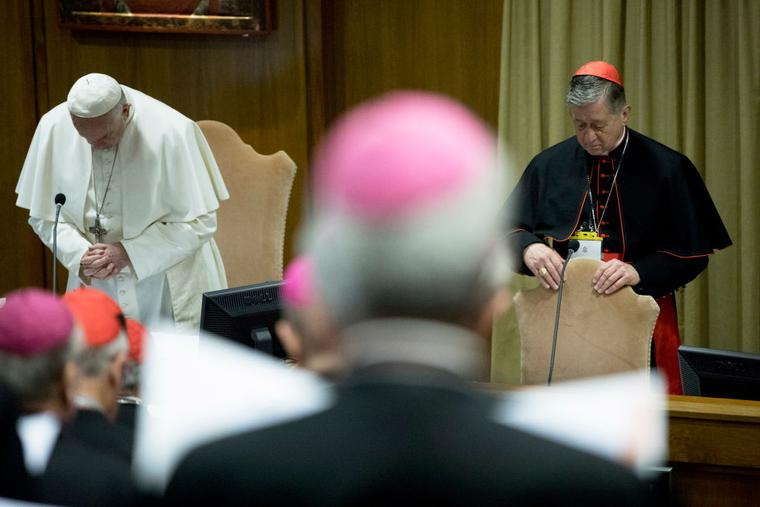 Pope Francis and Archbishop of Chicago Cardinal Blase Joseph Cupich (R) attend a session of  'The Protection Of Minors In The Church' meeting at the Synod Hall on February 23, 2019 in Vatican City, Vatican.