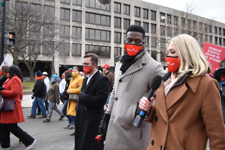 Catherine Hadro (R) interviewed former NFL player Benjamin Watson (L) during the 48th annual March for Life in Washington D.C., Jan. 29, 2021.