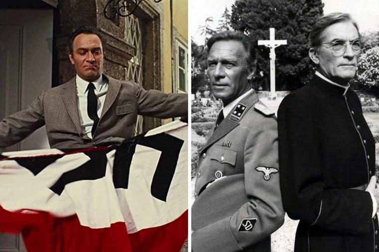 L to R: The varied roles of Christopher Plummer include  the anti-Nazi Captain von Trapp and Nazi Herbert Kappler.