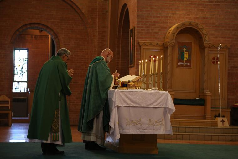 Bishop James Wall of Gallup celebrates Sunday Mass ad orientem at the Cathedral of the Sacred Heart, June 30, 2019.