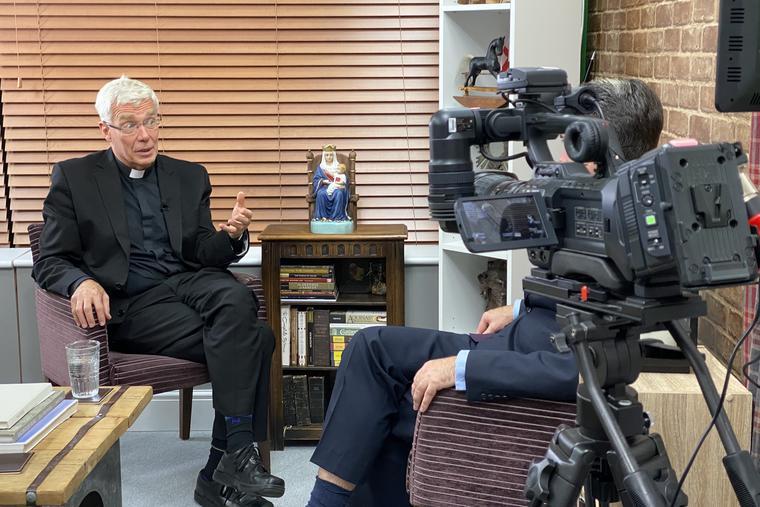 Msgr. Philip Moger speaks with Register U.K. correspondent K.V. Turley at the EWTN studios in Walsingham.