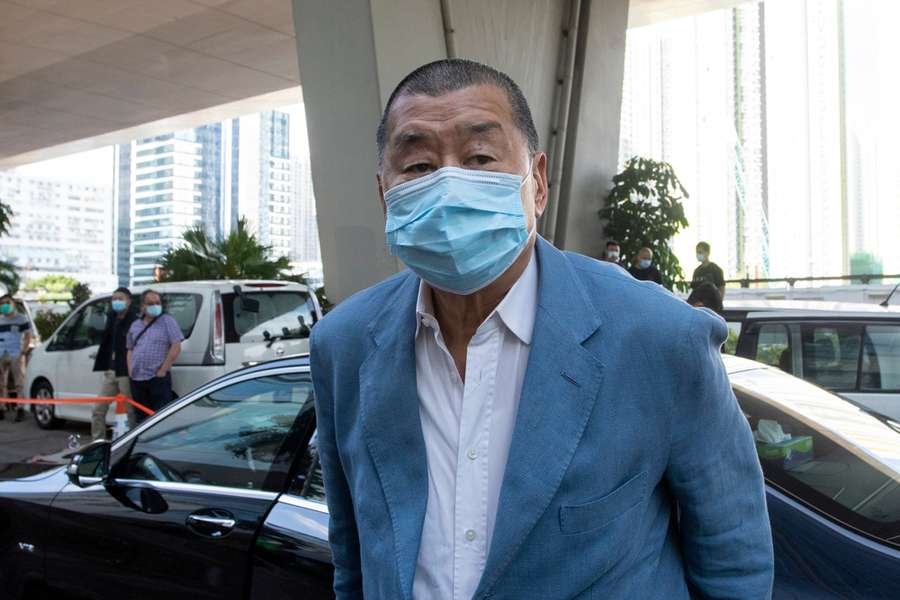 Jimmy Lai Chee Ying arrving at the West Kowloon Magistrates' Court, Hong Kong, Oct. 15, 2020.