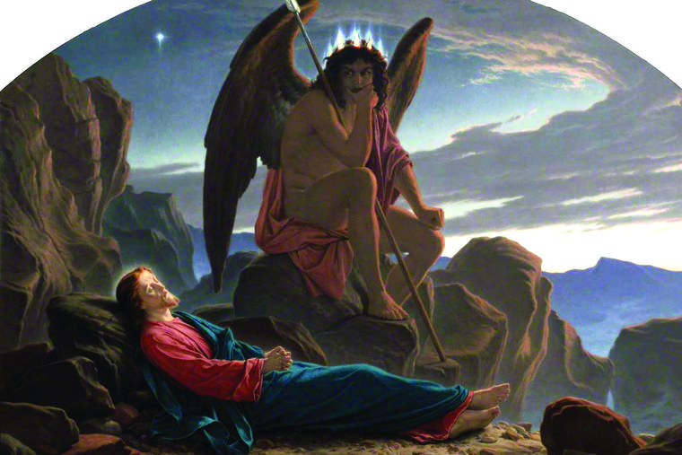 'Satan Watching the Sleep of Christ,' by Joseph Noel Paton (1821–1901), shows Jesus asleep while the devil plots.