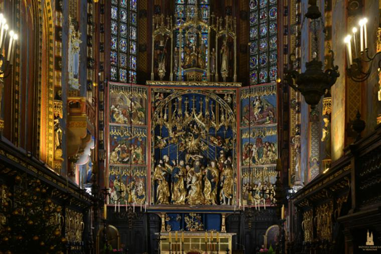 The Gothic altarpiece at St. Mary's Basilica in Kraków, Poland.