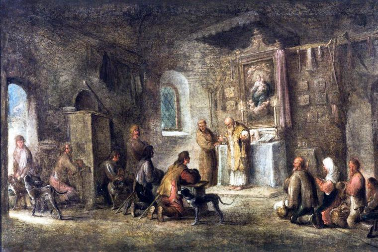 """Unknown German Master, """"Holy Mass in a Village Church,"""" 18th century"""