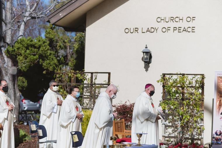 Priests celebrate Mass for the 40th Anniversary Jubilee on Jan 30, 2021 at Our Lady of Peace in San Jose.