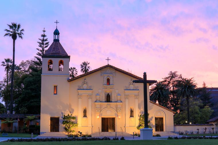 The facade of Mission Santa Clara, student chapel of Santa Clara University.