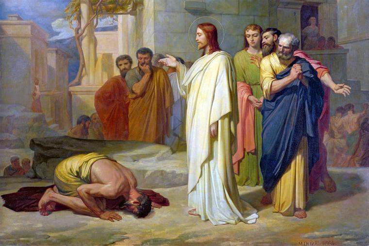 "Jean-Marie Melchior Doze, ""Jesus Healing the Leper,"" 1864"