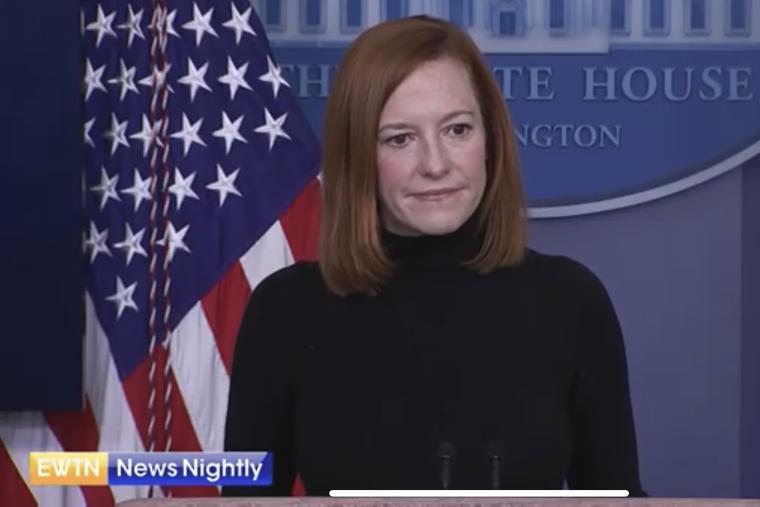 White House Press secretary Jen Psaki answers a question from EWTN News Nightly's Owen Jensen on February 16, 2021.