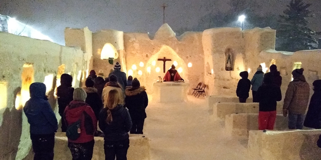 Ice Mass at St Albert the Great Campus of Michigan Tech