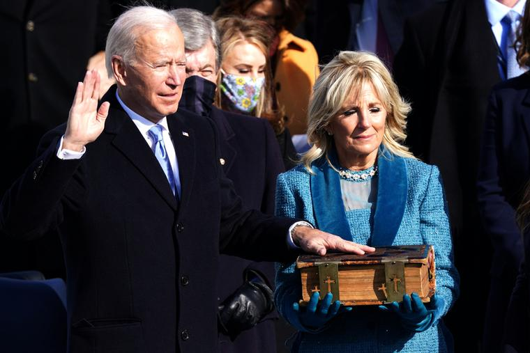 President Joe Biden is sworn in during his Inauguration ceremony at the U.S. Capitol on January 20, 2021.