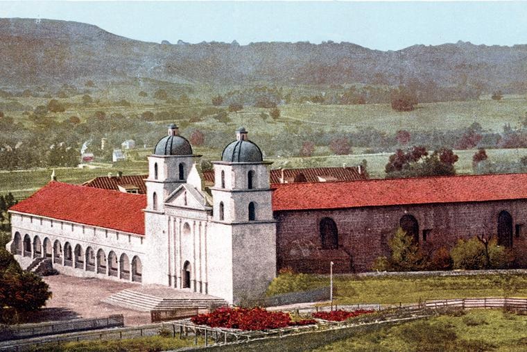 Mission Santa Barbara, the 10th of California's 21 missions, was founded in 1786 by Padre Fermín de Lasuén. This colorized photo was taken from a postcard published around 1903.