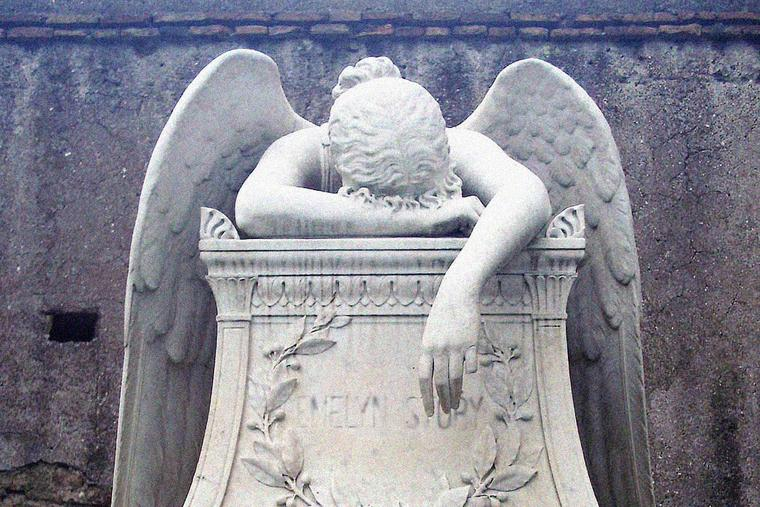 'Angel of Grief,' sculpted in 1894 by William Wetmore Story, serves as the gravestone of the artist and his wife Emelyn at the Protestant Cemetery in Rome.