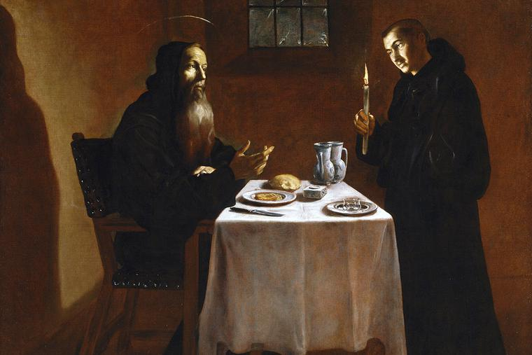 "Juan Rizi, ""The Dinner of St. Benedict,"" 17th century"