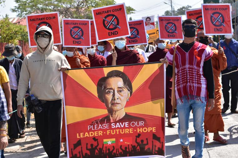 Thousands march in the streets to protest against the military coup in Myanmar on Feb. 16, 2021.