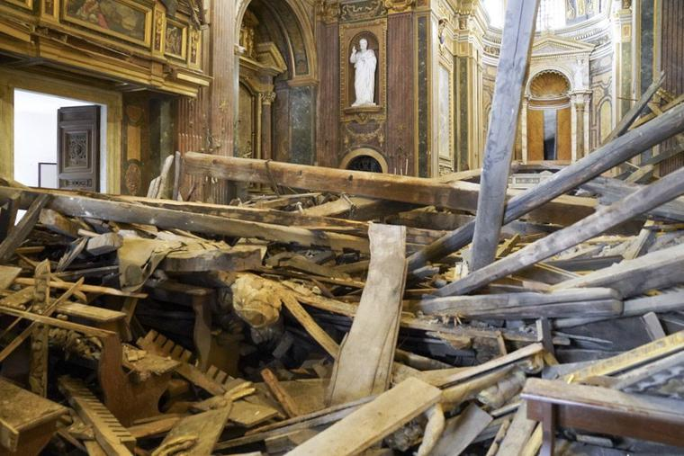Interior view of St. Joseph the Carpenter after the roof caved in.