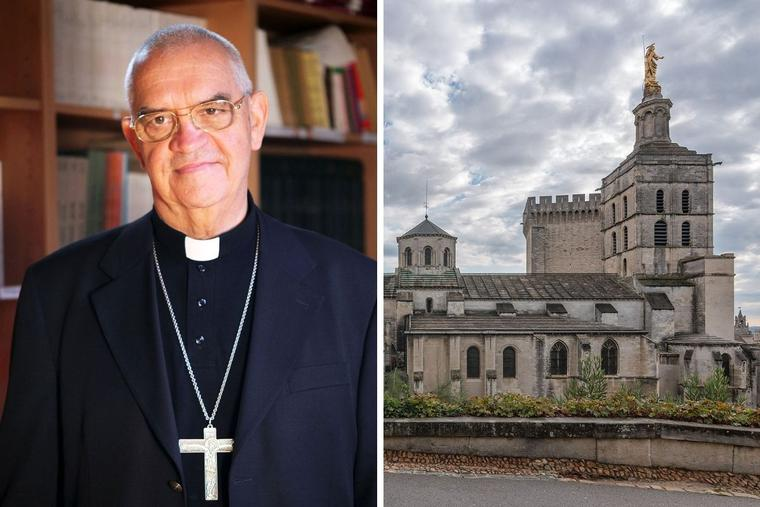 Retiring Archbishop Jean-Pierre Cattenoz (l) led the Archdiocese of Avignon, whose cathedral and Pope's Palace are shown, for almost 20 years.