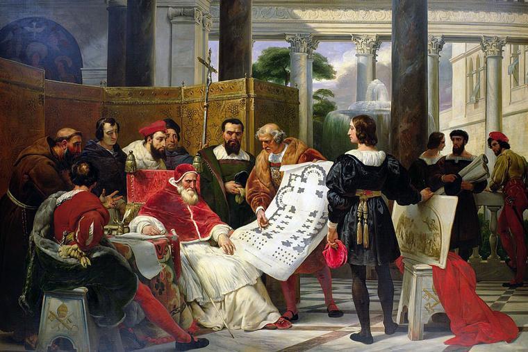 "Horace Vernet, ""Pope Julius II Ordering Bramante, Michelangelo, and Raphael to Build Saint Peter's,"" 1827"