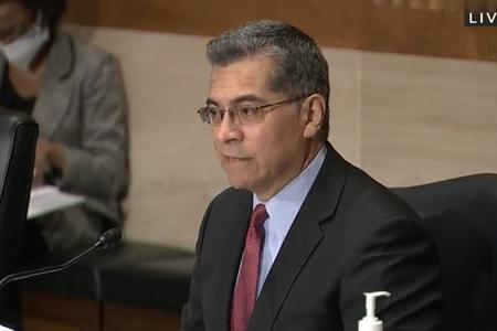 HHS nominee Xavier Becerra during his Senate confirmation hearing Feb. 23, 2021.