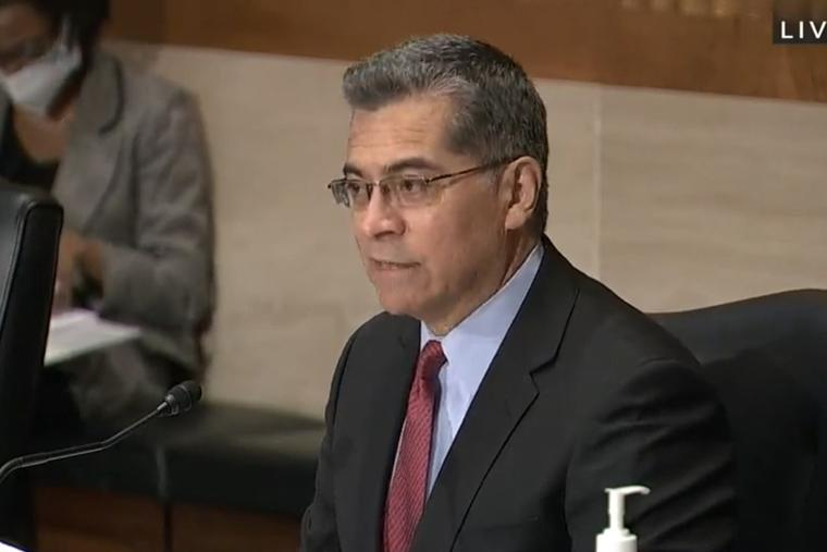 HHS nominee Xavier Becerra during his Senate confirmation hearing February 23, 2021.
