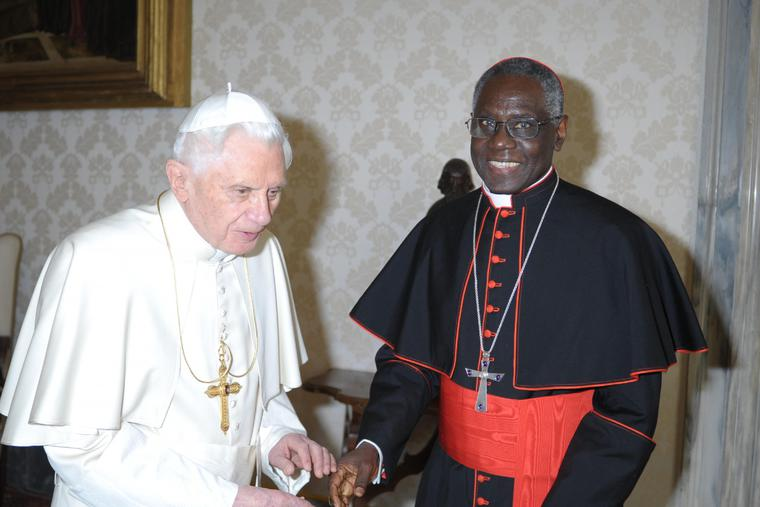 Cardinal Robert Sarah meets with Pope Benedict XVI on March 11, 2011, in Vatican City.
