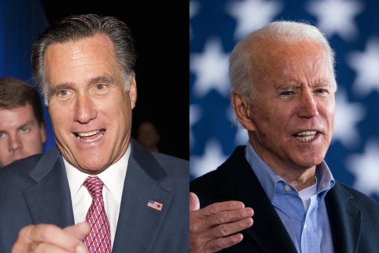 (L) Senator Mitt Romney and (R) President Joe Biden.