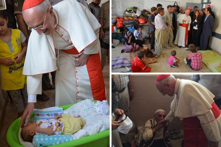 Cardinal Fernando Filoni meets with Iraqi refugees, including Yazidi, in Iraqi Kurdistan, the Governorate of Dohuk.