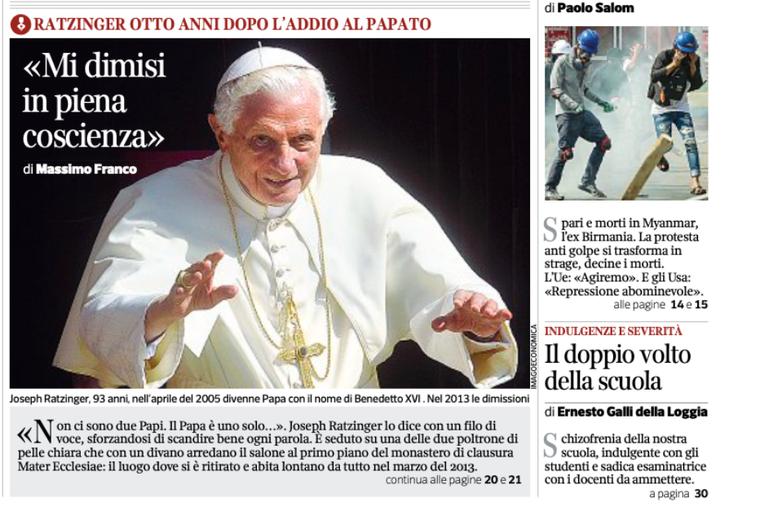 Screenshots of the Italian newspaper Corriere Della Sera featuring Pope Benedict XVI in a new interview Feb. 28. 2021.