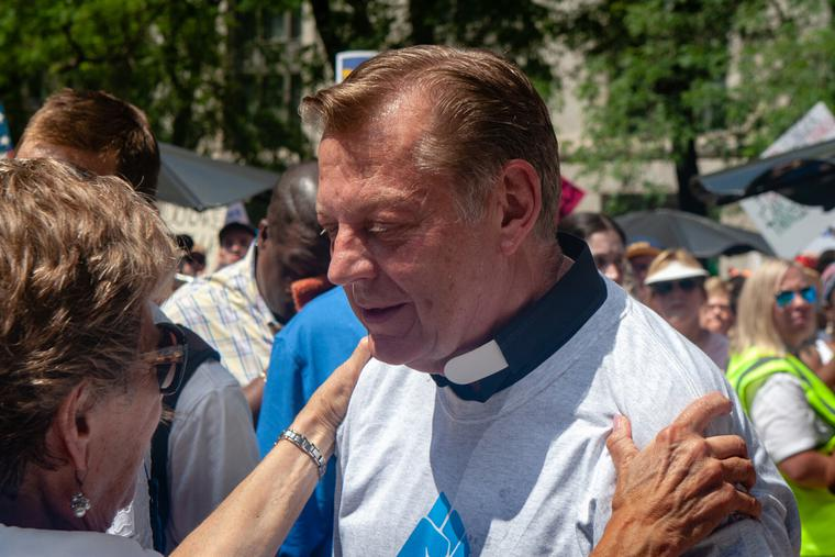 Father Michael Pfleger at a rally in Chicago June, 2018.
